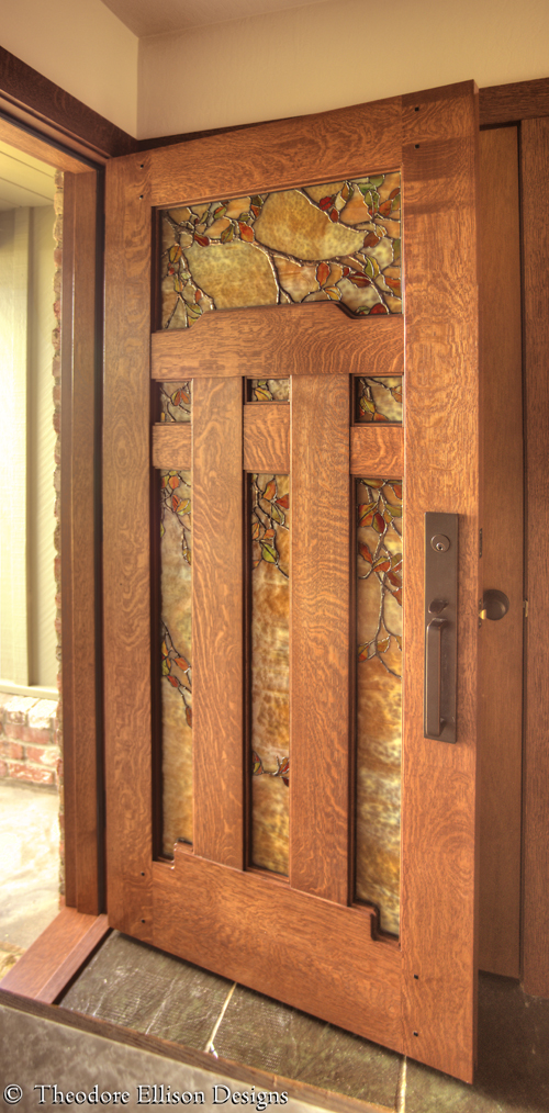 Dunsmuir Door with Fall Leaf Art Glass