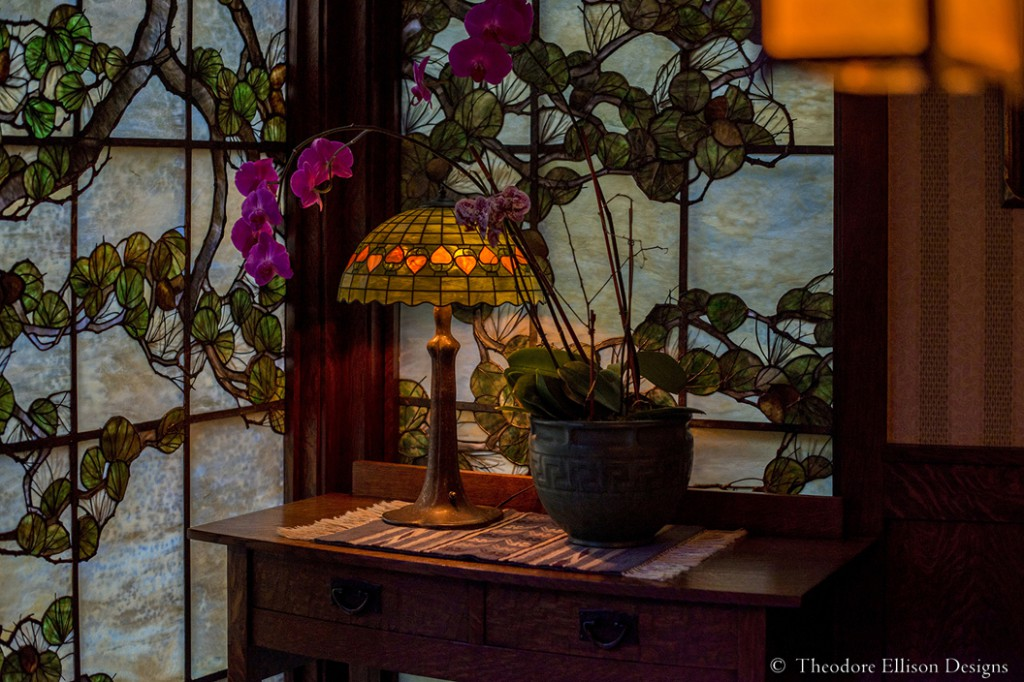 Pine Bough stained glass window by Theodore Ellison Designs