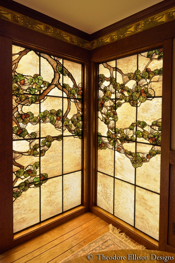 Pine tree stained glass window by Theodore Ellison Designs