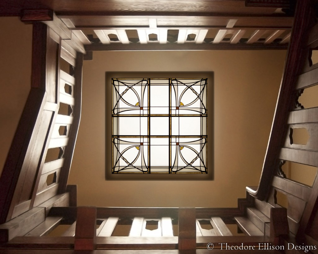 Art Nouveau leaded glass laylight by Theodore Ellison Designs, San Francisco, California