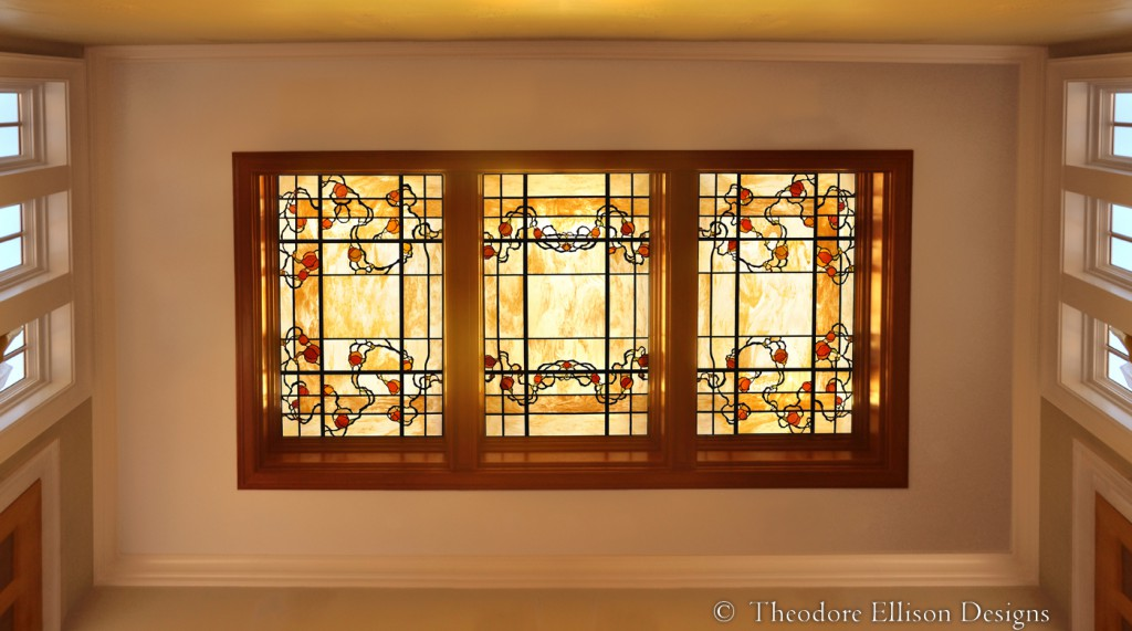 Climbing Rose leaded glass laylight by Theodore Ellison Designs, New York City