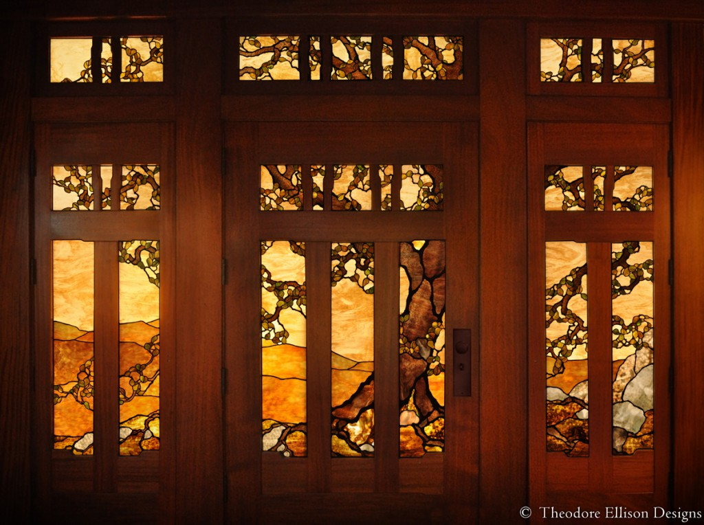 Oak tree stained glass entry - Theodore Ellison Designs