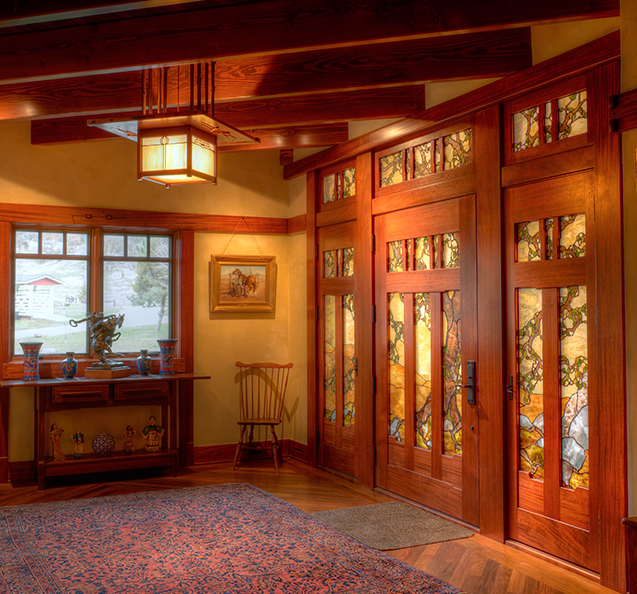 Oak tree stained glass entry - Theodore Ellison Designs - photo courtesy of Old California Lighting