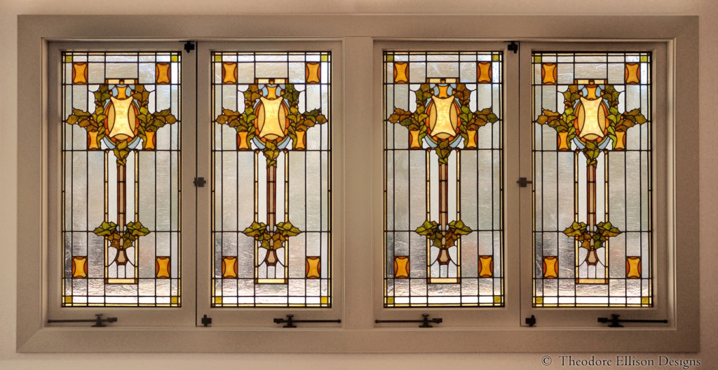 Sullivanesque leaded glass window - Theodore Ellison Designs