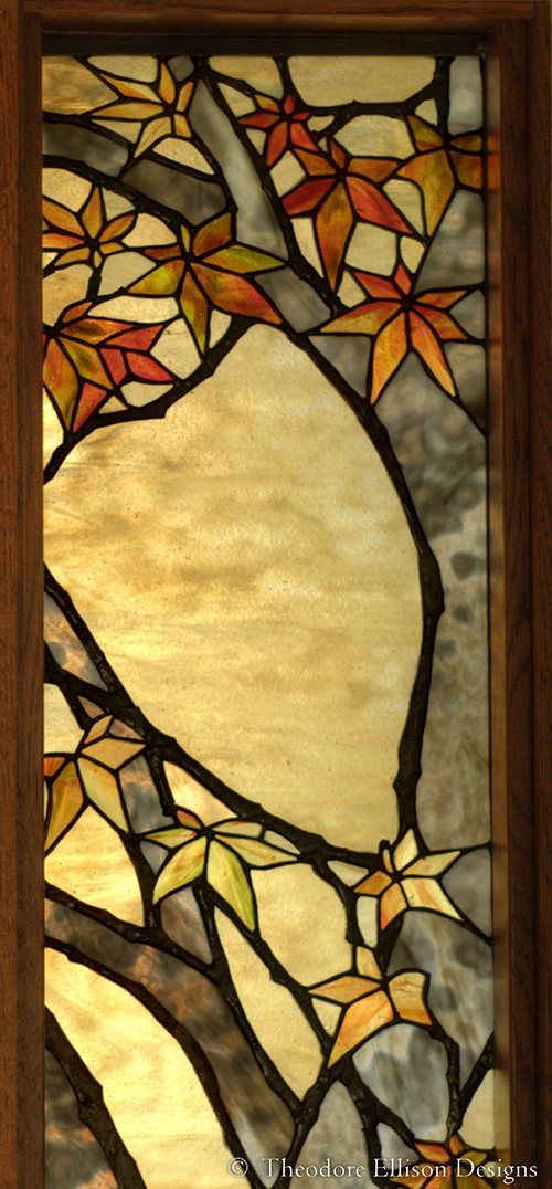 Japanese Maple stained glass entry - Theodore Ellison Designs